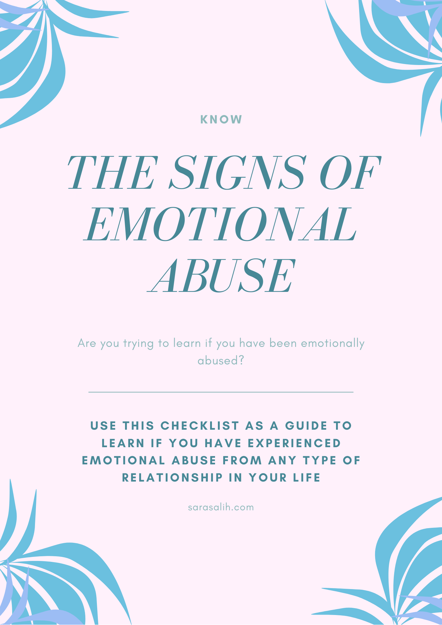 The Signs of emotional abuse